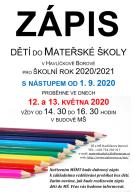 ZÁPIS DĚTÍ DO MATEŘSKÉ ŠKOLY PRO ROK 2020/2021 1
